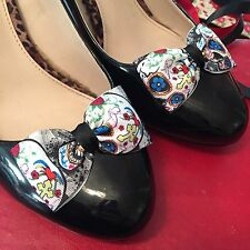 Sugar Skulls Shoe Clips 4 Shoes Bows Pinup Rockabilly Retro Vintage Burlesque ❤️