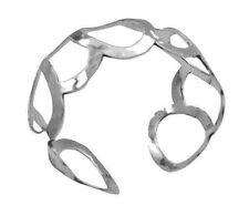 Sterling Silver 92.5 Round Rings Cuff Bracelet Silver w/ Stamped 92.5 Bracelet