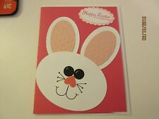 Stampin Up Handmade Easter Greeting Card Cute Bunny in pink or blue