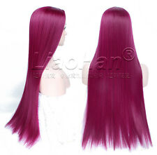 Straight Long Burgundy Wig Lolita Colorful Anime Hair Cosplay Wig for Women