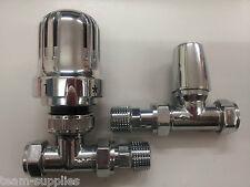 Cromo Recto termostática válvula del radiador 15mm Trv & lockshield Pack Pc Par