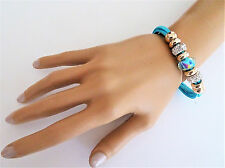 Turquoise Blue Suedette Beaded Threader Charm Bracelet with Magnetic Clasp