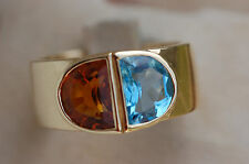 TRES BELLE  BAGUE OR   18K   / /  CITRINE / TOPAZE
