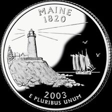 2003-S 25C State Quarter Maine lat  GDC Proof 90% Silver Free Shipping