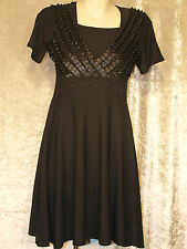 Little Black Dress with Pleated Ribbon Bodice Formal Teenage Leavers Party Frock