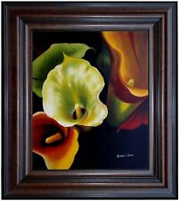 Framed Quality Hand Painted Oil Painting, Colorful Calla Lilies, 20x24in