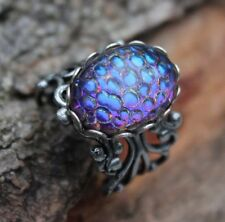 Blue Sapphire Dragons Eye ring, glass,18x13,lace edge on silver filigree ring