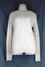 CHARTER CLUB Cable Knit Sweater LARGE Sweet Cream Metallic Pullover Crew Neck