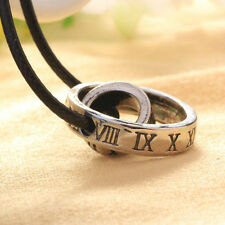 Mens Roman Numerals Leather Rope Cord Necklace Doulbe Rings Pendant Necklace New