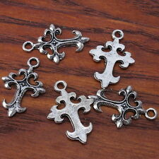 50x Wholesale New Tibetan Silver Cross Charms Pendant Fit Necklace 140651