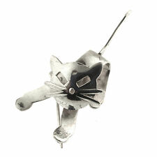 SE Cat Pin with Movable Head Vintage Sterling Silver Brooch Moves Modernist