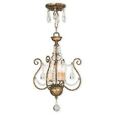 Livex Lighting  European Bronze Semi-Flush Mount w/ Cascading Clear Crystal