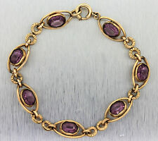 Ladies Antique Victorian 12K Yellow Gold Filled 1/20th Amethyst Chain Bracelet