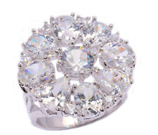 Huge ! White Topaz  & Zircon Women Jewelry Gemstone Silver Ring Size 9 PNJ9290
