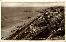 Hastings East Sussex Postkarte und Stempel 1956 General view from the Castle