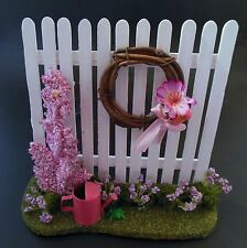Dollhouse mini handcrafted spring garden fence w/flowers, wreath & watering can