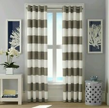 Nautica Cabana Stripe Window Curtin Panel 2pc Set ~ Gray ~ Grommets