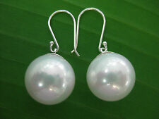 100% 925 sterling silver Seashell Pearl 14mm White Bridal Bride Dangling Earring