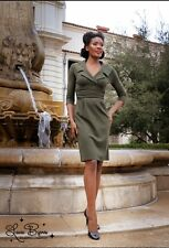 NWD TRASHY DIVA 10 Mansfield Military Green Knit Dress Pin Up Girl PUG NEW NWT