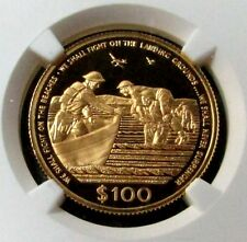 1990 GOLD CAYMAN ISLANDS DUNKIRK ONLY 500 MINTED $100 NGC PROOF 69 ULTRA CAMEO