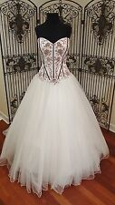 135 SINCERITY BRIDAL 3794 SZ 16 IVORY BURGUNDY WEDDING DRESS W VEIL $1107