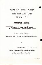 BELL INSTALLATION & OPERATION MANUAL FOR A MODEL 2215 AMPLIFIER