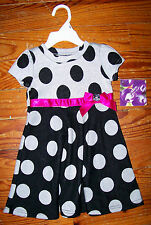 New! Girls BLUEBERI BOULEVARD Gray Black Pink Polka Dot Ribbon Dress 24 Months