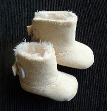 Baby clothes GIRL 0-3m F&F faux suede beige fleece-lined boots SEE MORE IN SHOP!