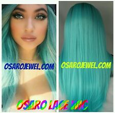 Kylie jenner,   hair.  lace wig.  Dark root. Tourquoise blue human blend