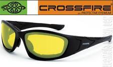 Crossfire MP7 Yellow Anti Fog Lens Foam Padded Safety Glasses Sun Night Driving