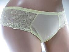 Parisa Sheer Yellow Lace Trim Bikini Panty, size XL