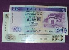 Macau Bank Of China 1997 50 Patacas 1999 20 Patacas (UNC) Same Number 19964 Rare