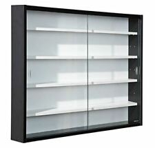 Glass Cabinet Bookcase Black Cupboard Storage Wall Unit Shelves Lounge Display