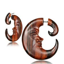 PAIR 18G MOON FACE SONO WOOD FAKE CHEATER FAUX GAUGES FAUX PLUGS CARVED SPIRALS