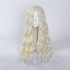 Long Platinum Blonde Wig Water Wave MIDDLE Parting Heat Resistant Synthetic Wigs