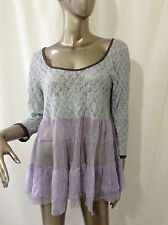 Free People Blue & Purple Lacy Sexy Slouchy Top L