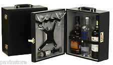 Travel Bar Leather Liquor Briefcase 3 Bottle Flask Glasses Set Gift Travel Drink