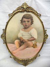 Antique Little Girl &Teddy Bear Painting in Rococo Metal Oval Frame Signed Land