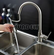 Brushed pull out kitchen sink spray mixer tap basin faucet swivel hose spout