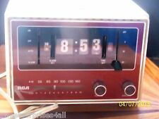 Vintage RCA Flip Alarm Clock Radio white & burnt red Japan made