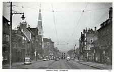 London Road Leicester tram lines unused RP old postcard by A W Holmes