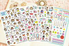 Petit World Girl Daily Life Stickers- 4 Sheets For Organizers & Day Planners