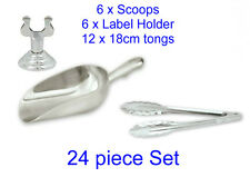 Lolly Bar Wedding Set 6 x Candy Scoops, 12 x 18cm Tongs & 6 x Label Holder