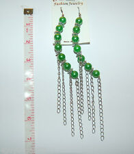 "KAY IMPORT Fashion Jewelry EARRINGS 6"" ARCHED Beaded Dangle Chains Silver GREEN"