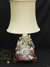 ANTIQUE EARLY 20 c REPUBLIC ERA CHINESE FAMILLE ROSE BUDDHA with CHILDREN LAMP