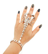 Glam Silver Scorpion Bracelet Hand Chain Stretch Ring By Rocks Boutique