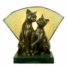 Kissing Cats Table Lamp Stunning Cat Lamp - Tiffany Glass Fan