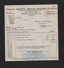 NANCY, Rechnung 1927, Société Nestlé Chocolats Gala Peter Cialler Kohler