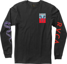 NWT MEN'S EELS RVCA SIZE MEDIUM LONG SLEEVE T-SHIRT BLACK GRAPHIC SURF TEE SKATE