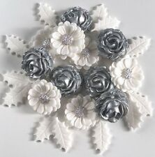 White & Silver Christmas Bouquet Edible Sugar Paste Flowers Cake Decorations